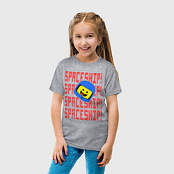 Футболка хлопковая детская Spaceship цвета меланж — фото 2