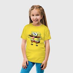 Футболка хлопковая детская Губка Боб цвета желтый — фото 2