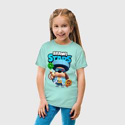 Футболка хлопковая детская Генерал Гавс brawl stars цвета мятный — фото 2