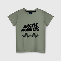 Футболка хлопковая детская Arctic Monkeys цвета авокадо — фото 1
