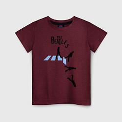 Футболка хлопковая детская The Beatles: break down цвета меланж-бордовый — фото 1