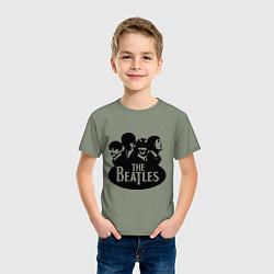 Футболка хлопковая детская The Beatles Band цвета авокадо — фото 2