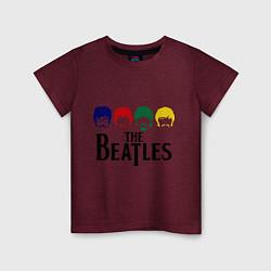 Футболка хлопковая детская The Beatles Heads цвета меланж-бордовый — фото 1