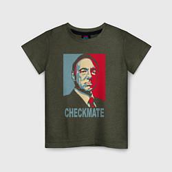 Футболка хлопковая детская Checkmate Spacey цвета меланж-хаки — фото 1