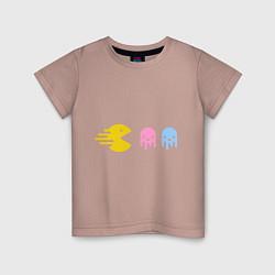 Футболка хлопковая детская Pac-Man: Fast Eat цвета пыльно-розовый — фото 1