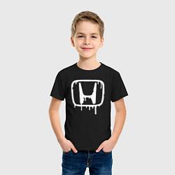 Футболка хлопковая детская Honda цвета черный — фото 2