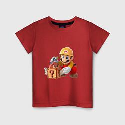Футболка хлопковая детская Super Mario: Builder цвета красный — фото 1