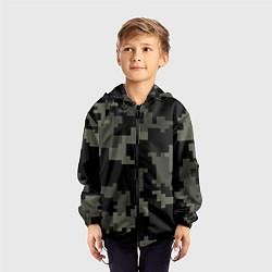Ветровка с капюшоном детская Камуфляж пиксельный: черный/серый цвета 3D-черный — фото 2