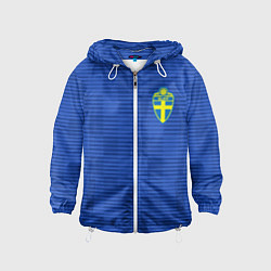 Ветровка с капюшоном детская Сборная Швеции: Гостевая ЧМ-2018 цвета 3D-белый — фото 1