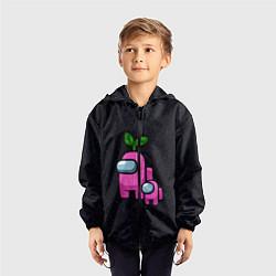 Ветровка с капюшоном детская Among us Pink kid Pink цвета 3D-черный — фото 2