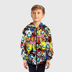 Ветровка с капюшоном детская AMONG US X NARUTO цвета 3D-черный — фото 2