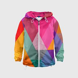 Ветровка с капюшоном детская Разноцветные полигоны цвета 3D-белый — фото 1