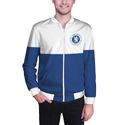 Бомбер мужской Chelsea FC: Light Blue цвета 3D-белый — фото 2