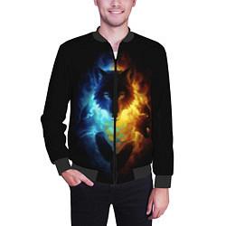 Бомбер мужской Волки в огне цвета 3D-черный — фото 2