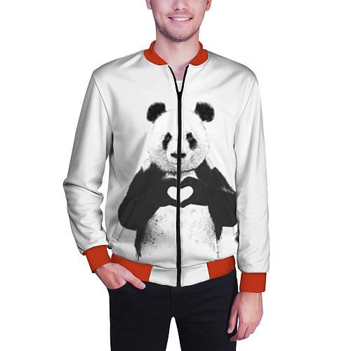 Мужской бомбер Panda Love / 3D-Красный – фото 3