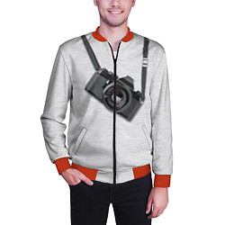 Бомбер мужской Фотоаппарат на груди цвета 3D-красный — фото 2