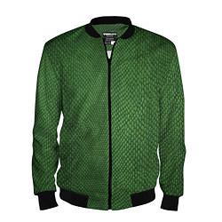 Бомбер мужской Змеиная зеленая кожа цвета 3D-черный — фото 1