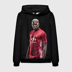 Толстовка-худи мужская Погба: Манчестер Юнайтед цвета 3D-черный — фото 1