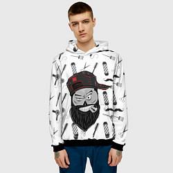 Толстовка-худи мужская Барбер Борода цвета 3D-черный — фото 2