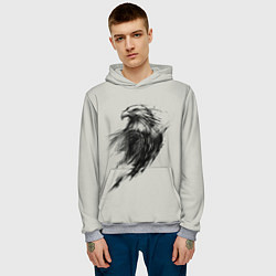 Толстовка-худи мужская Дикий орел цвета 3D-меланж — фото 2