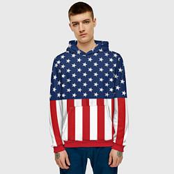 Толстовка-худи мужская Флаг США цвета 3D-красный — фото 2