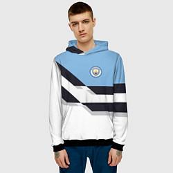 Толстовка-худи мужская Manchester City FC: White style цвета 3D-черный — фото 2