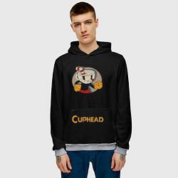 Толстовка-худи мужская Cuphead: Black Mugman цвета 3D-меланж — фото 2