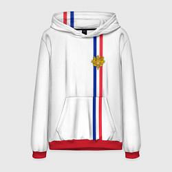 Толстовка-худи мужская Франция: лента с гербом цвета 3D-красный — фото 1