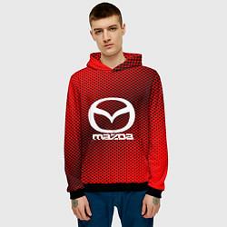 Толстовка-худи мужская Mazda: Red Carbon цвета 3D-черный — фото 2