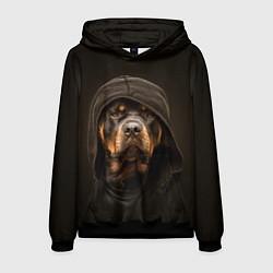 Толстовка-худи мужская Ротвейлер в капюшоне цвета 3D-черный — фото 1