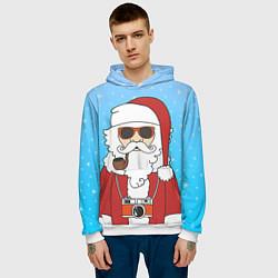 Толстовка-худи мужская Дед мороз цвета 3D-белый — фото 2