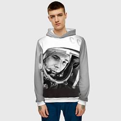 Толстовка-худи мужская Юрий Гагарин цвета 3D-белый — фото 2