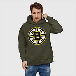Толстовка оверсайз мужская Boston Bruins цвета хаки — фото 2
