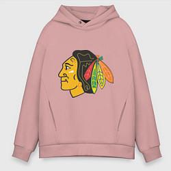 Толстовка оверсайз мужская Chicago Blackhawks цвета пыльно-розовый — фото 1