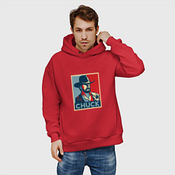 Толстовка оверсайз мужская Chuck Poster цвета красный — фото 2