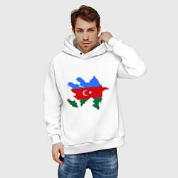 Толстовка оверсайз мужская Azerbaijan map цвета белый — фото 2