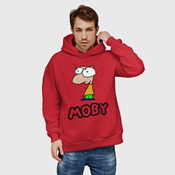 Толстовка оверсайз мужская Moby цвета красный — фото 2