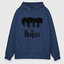 Толстовка оверсайз мужская The Beatles: Faces цвета тёмно-синий — фото 1