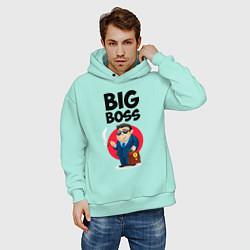 Толстовка оверсайз мужская Big Boss / Начальник цвета мятный — фото 2