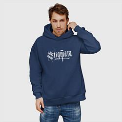 Толстовка оверсайз мужская Stigmata цвета тёмно-синий — фото 2