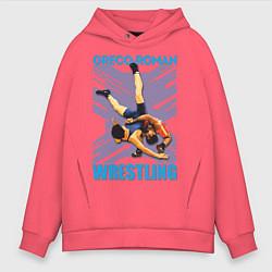 Толстовка оверсайз мужская Greco-roman wrestling цвета коралловый — фото 1