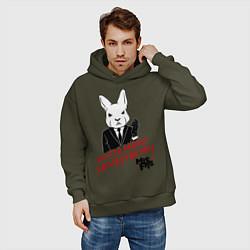 Толстовка оверсайз мужская Misfits: White rabbit цвета хаки — фото 2