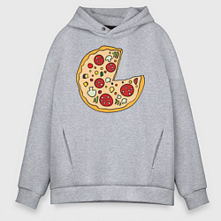 Толстовка оверсайз мужская Пицца парная цвета меланж — фото 1