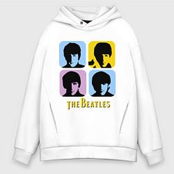 Толстовка оверсайз мужская The Beatles: pop-art цвета белый — фото 1