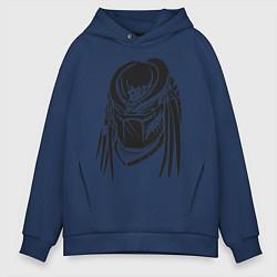Толстовка оверсайз мужская Хищник цвета тёмно-синий — фото 1