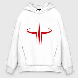 Толстовка оверсайз мужская Quake logo цвета белый — фото 1