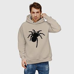 Толстовка оверсайз мужская Черный паук цвета миндальный — фото 2