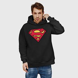 Толстовка оверсайз мужская Superman logo цвета черный — фото 2