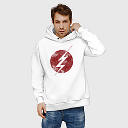 Толстовка оверсайз мужская The Flash logo цвета белый — фото 2
