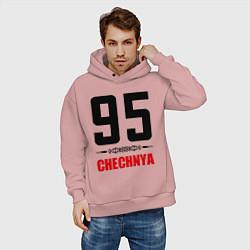 Толстовка оверсайз мужская 95 Chechnya цвета пыльно-розовый — фото 2